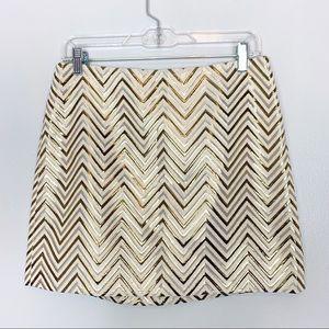 J Crew Gold Mini Skirt Size 6